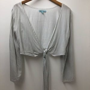 Mint Vanilla Striped Open Front Crop Top Size 6